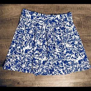 Adrienne Vittadini Blue & White Skirt W/Pockets XL